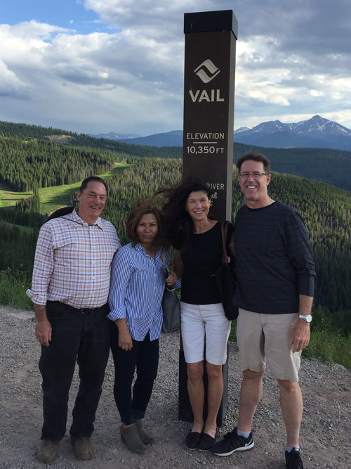 John Schrenker and Cindy with friends Dave and Nik Ressler. Vail, Colorado August 2019.