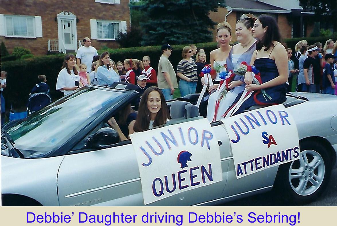 Debbie Krumpe Genser's daughter driving Debbie's Sebring